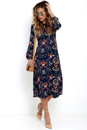 I. Madeline Garden Splendor Navy Blue Floral Print Dress at Lulus.com! 5cd9e4e4fd85
