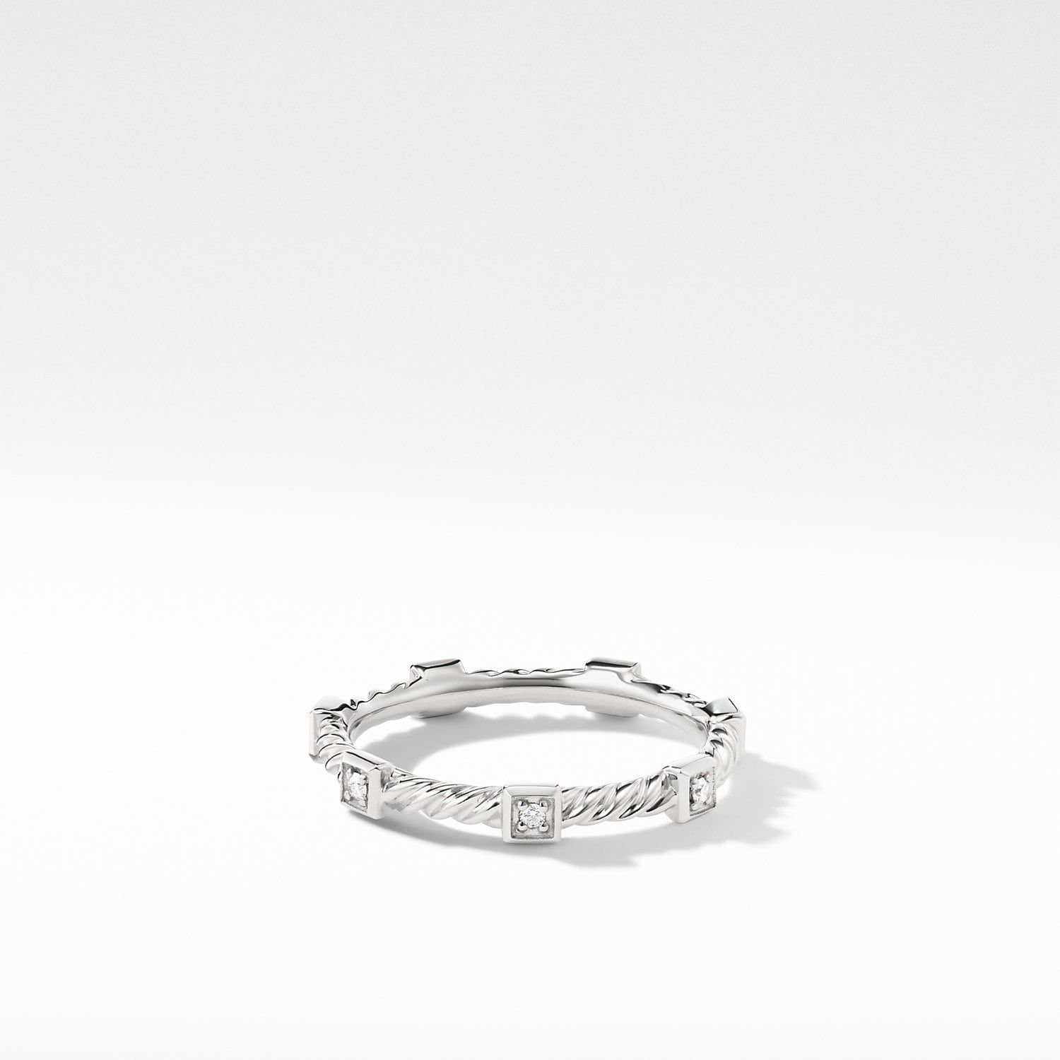 Cable Collectibles Cable Stack Ring With Diamonds In 18k White Gold Women Rings Rings David Yurman Ring