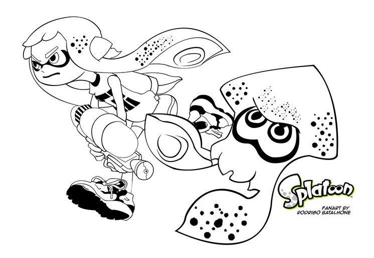 Splatoon Inkling Coloring Pages To Print Illust Cartoon
