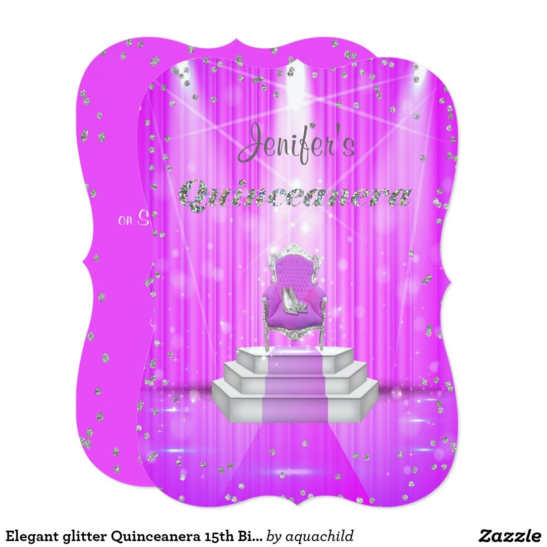 Elegant glitter quinceanera 15th birthday card customized elegant glitter quinceanera 15th birthday card m4hsunfo Image collections