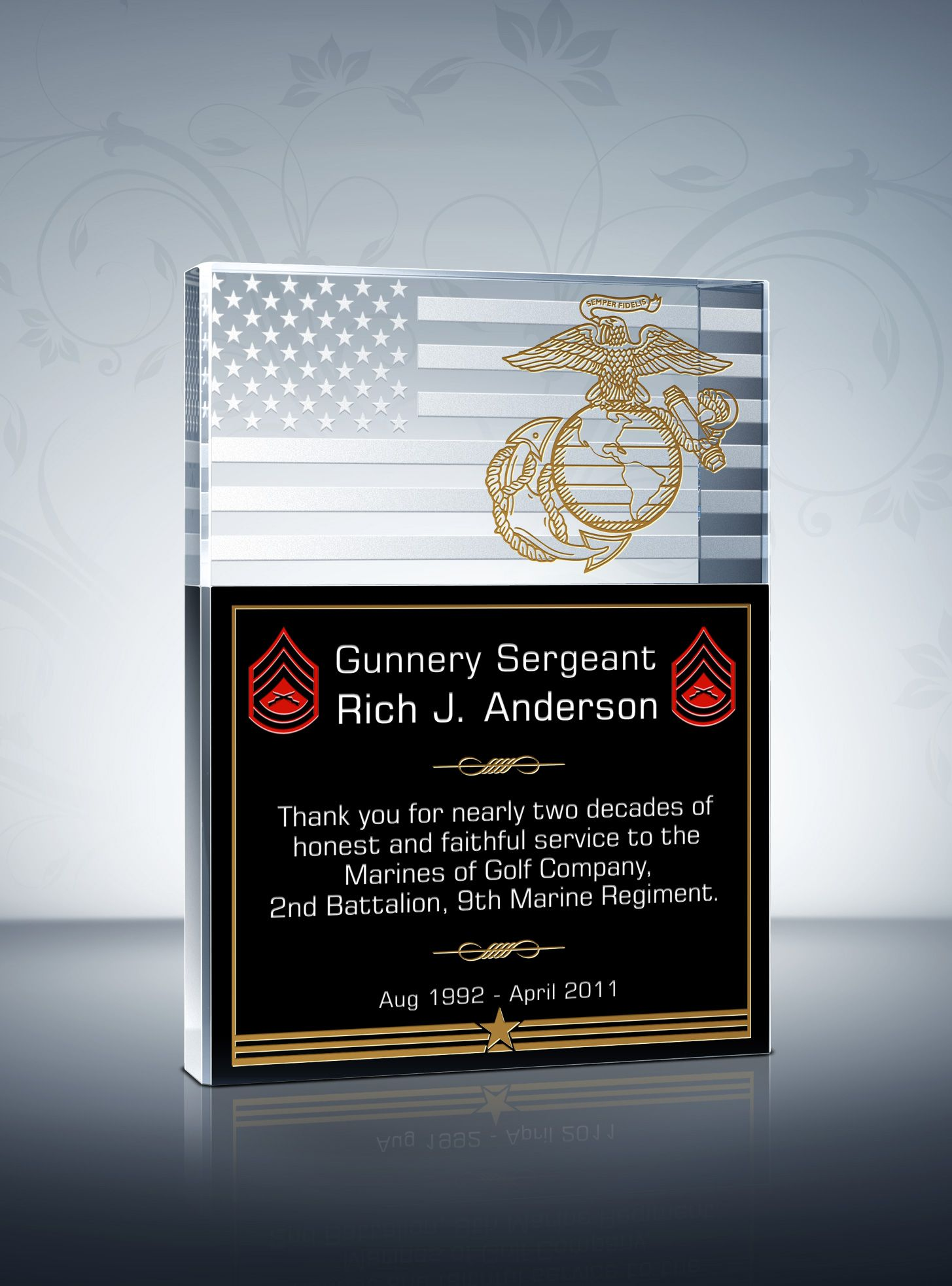 Unique military service plaques and thank you quotes with