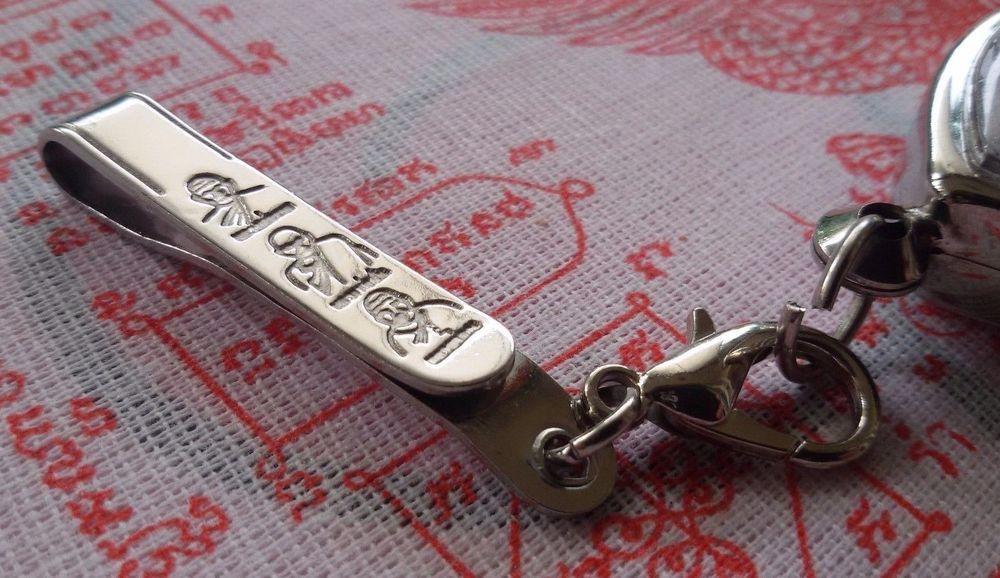 Thai Buddhist Amulet Pocket Folding Knife/Tie Clip Stainless Steel Buddha Displa