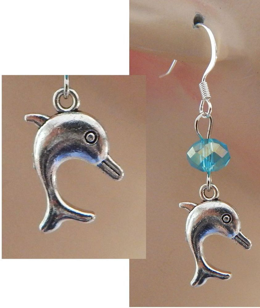 Silver Dolphin Charm Drop/Dangle Earrings Handmade Jewelry NEW Hook Blue Beads