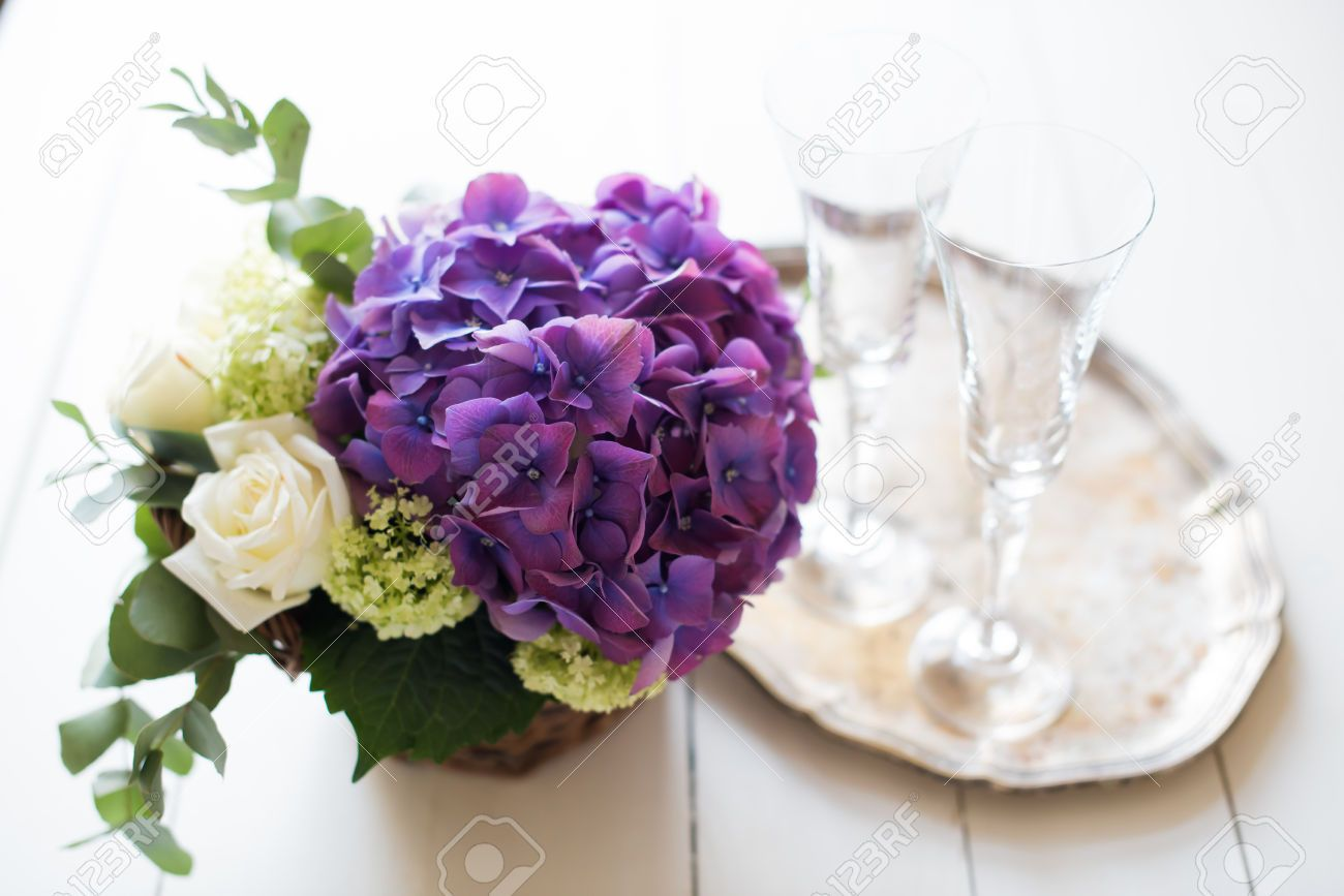 Big Bouquet Of Fresh Flowers Purple Hydrangeas And White Roses