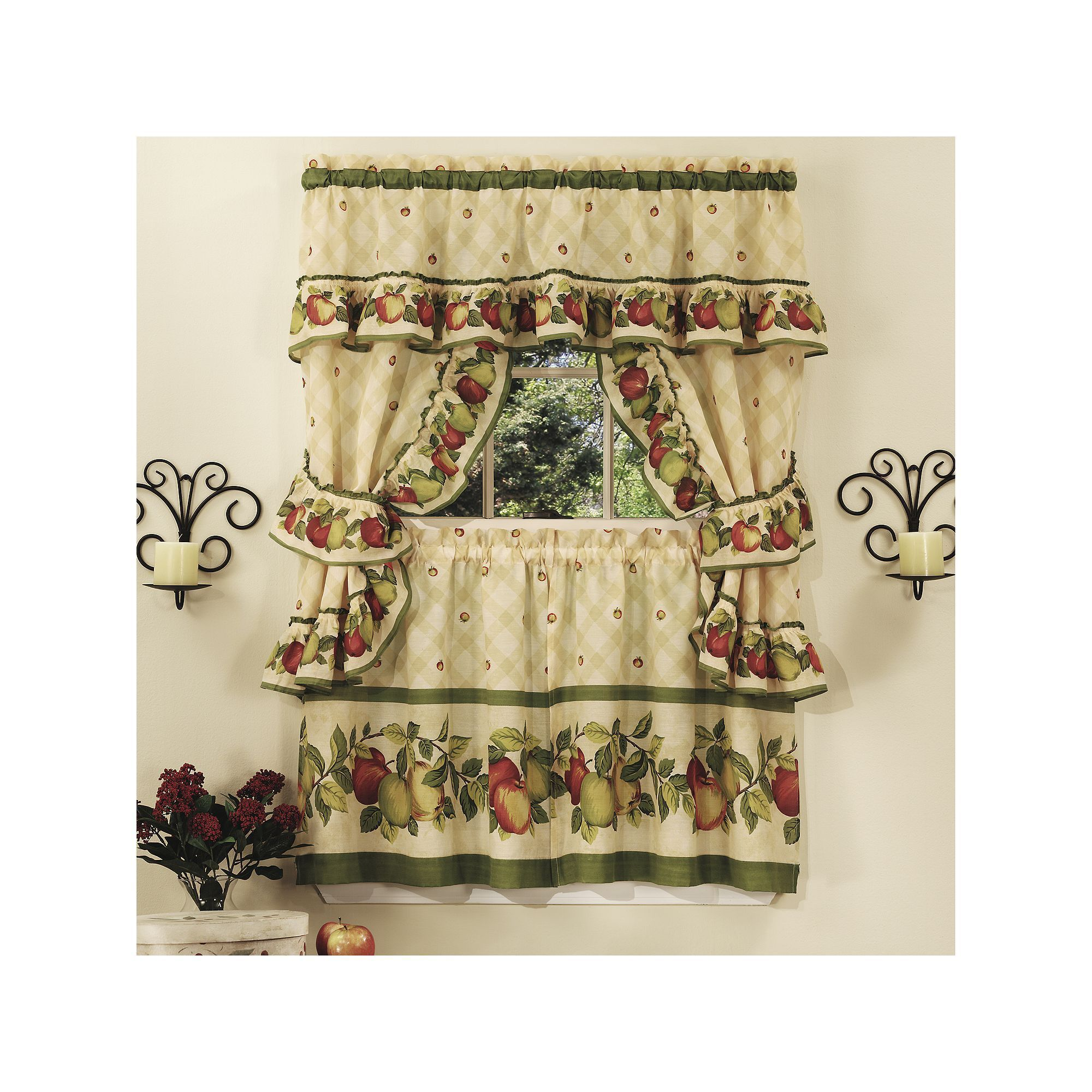 Apple Orchard 5 Piece Swag Tier Cottage Kitchen Window Curtain Set Beige