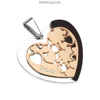 Stainless Steel Heart with IP Rose Heart Gemmed Pendant #mspiercing #piercings
