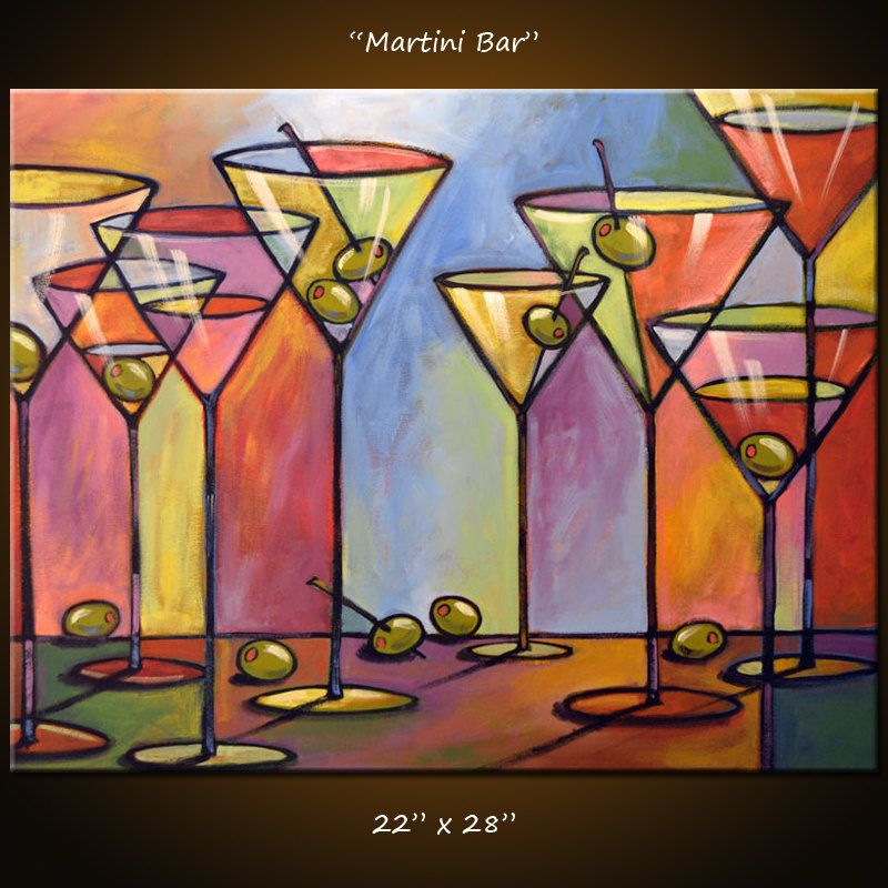 Amy Giacomelli Painting Abstract Modern Dining Room Bar Decor Martini Glasses