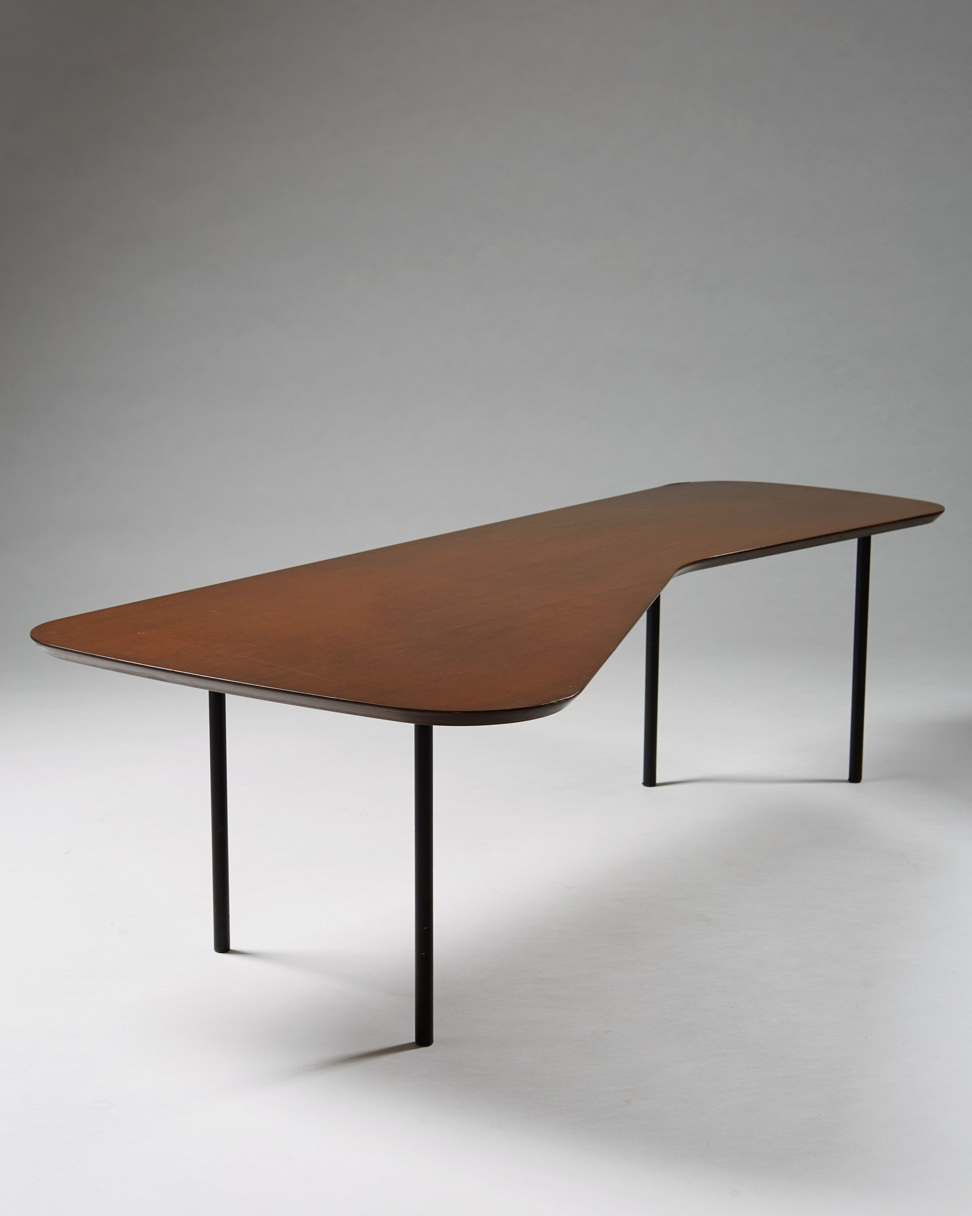 Alexander Girard Walnut Plywood and Enameled Steel Sofa Table for
