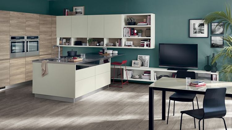 Moderne Küchen Design kombiniert Küche  Wohnzimmer