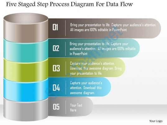 1214 five staged step process diagram for data flow powerpoint - data flow chart template