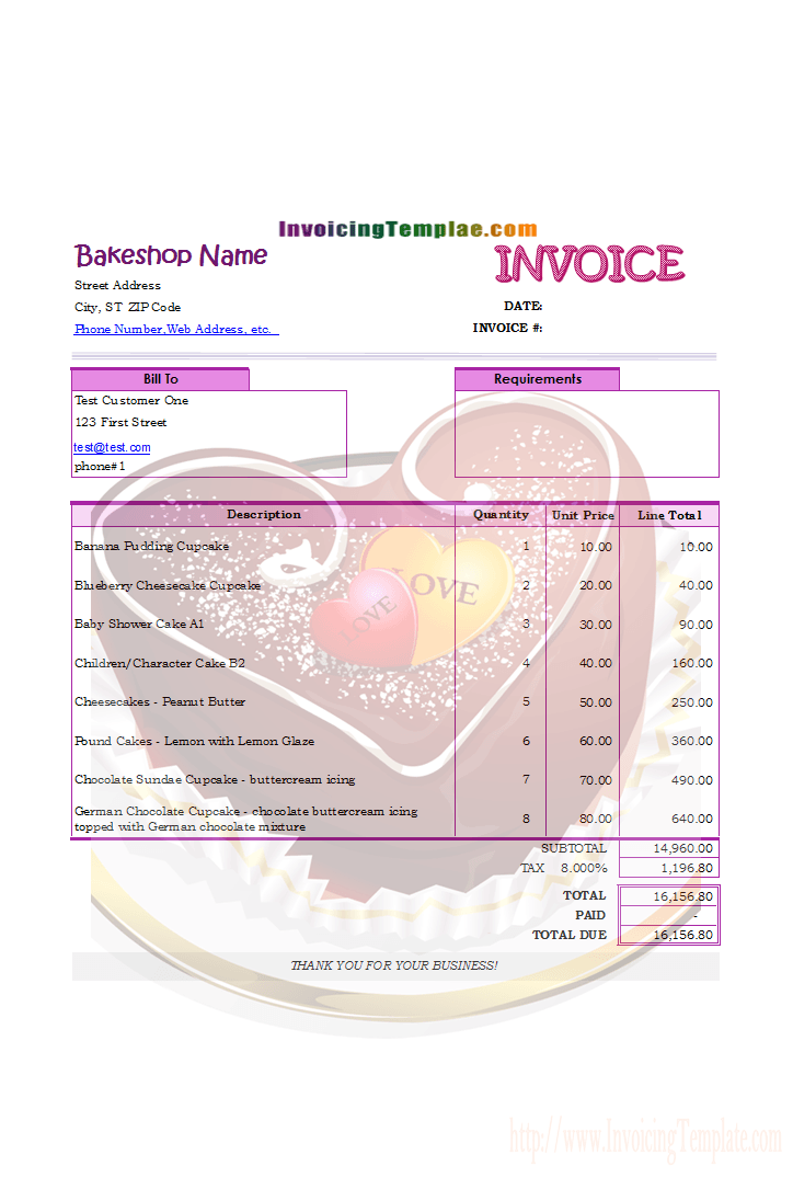Invoicing Format For Bakery And Cake Shop Invoice Template Receipt Template Microsoft Word Invoice Template