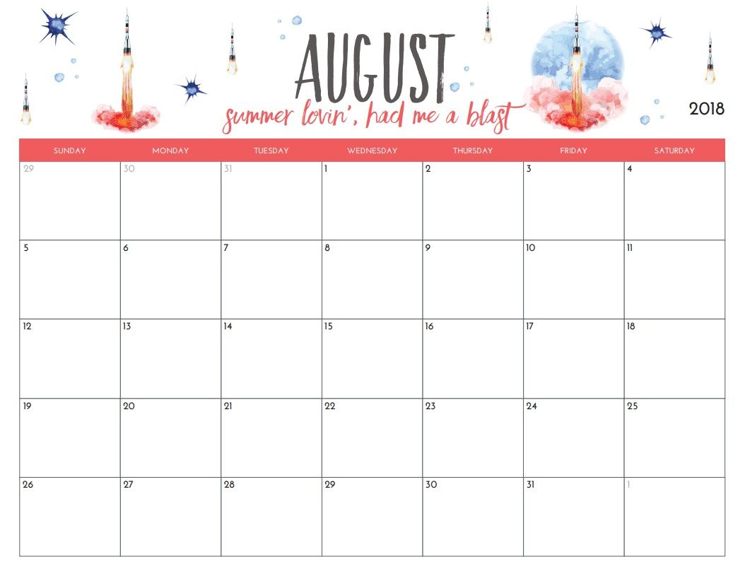 Free Printable August Monthly Calendar Organization 2 Dream Life Self Care