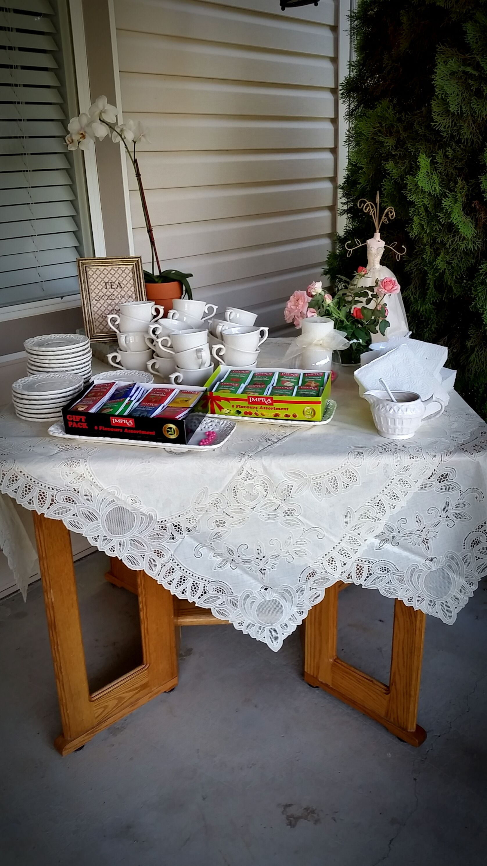 tea party themed bridal shower tea table vintage backyard party