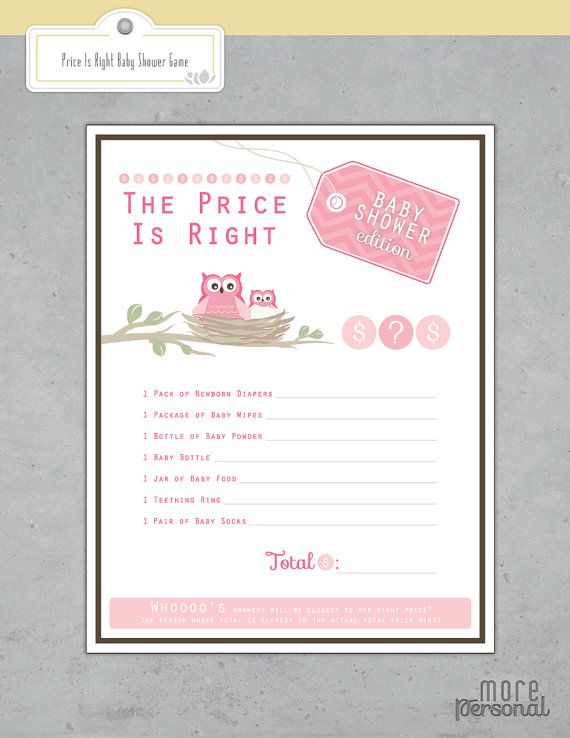 Price Is Right Baby Shower Game \/ Instant Download \/ Chevron and - baby shower agenda template
