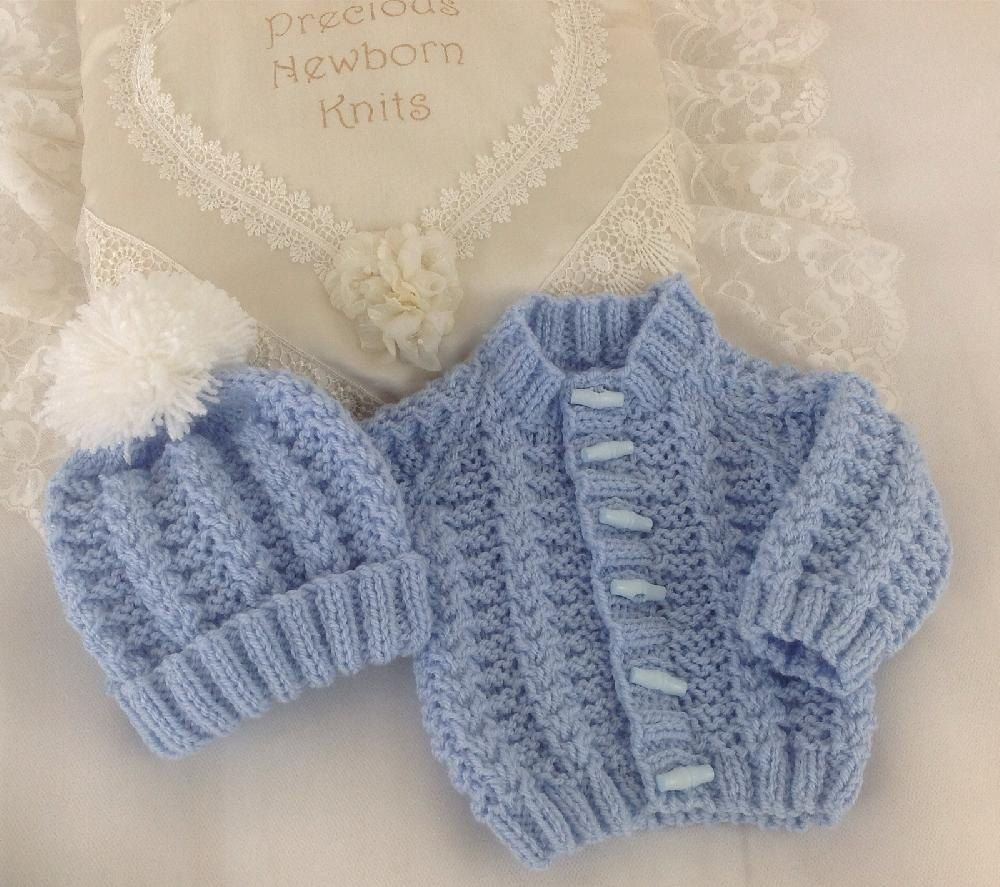 KNITTING PATTERN for BABY CARDIGAN 2 SIZES BOY GIRL #344 NOT CLOTHES