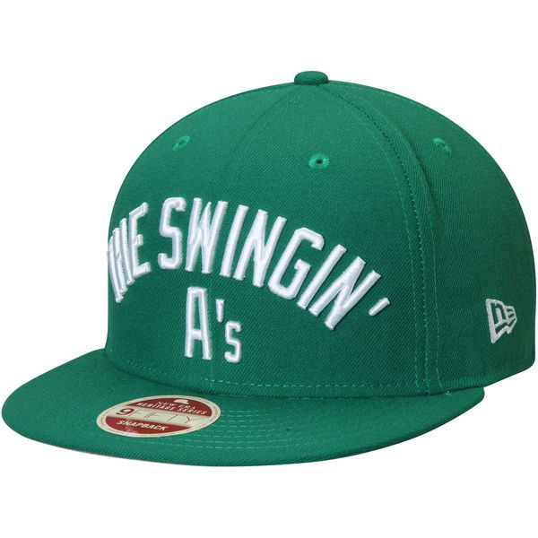 Men s Oakland Athletics New Era Green Cooperstown Collection Team Callout  9FIFTY Snapback Adjustable Hat a33385cb0159