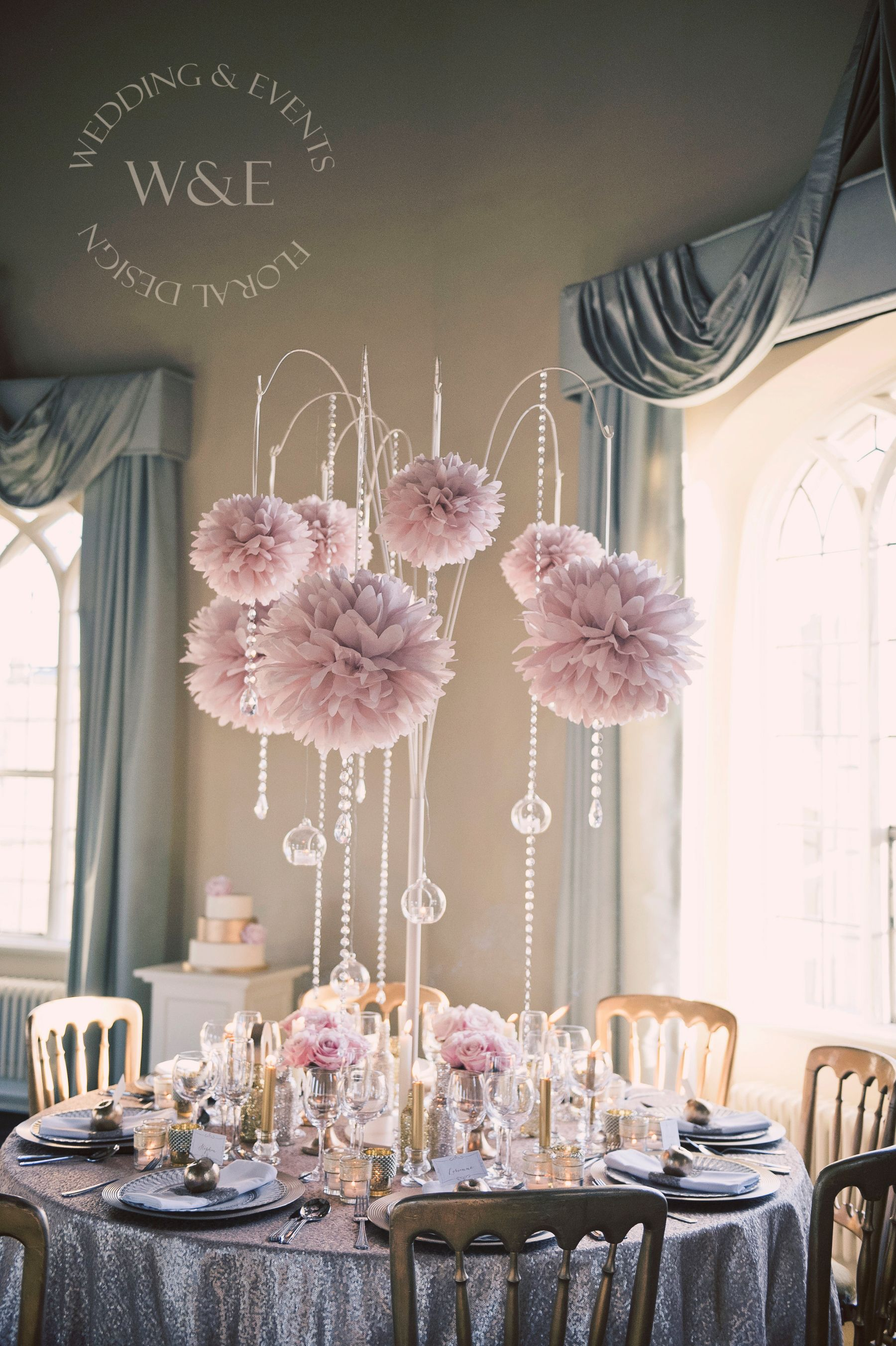 Stunning dusky pink pom poms with crystal droplets hanging globe hanging globe tea lights all suspended from our amazing multi arm tablestand centrepieces weddingandevents north yorkshire wedding flowers junglespirit Images
