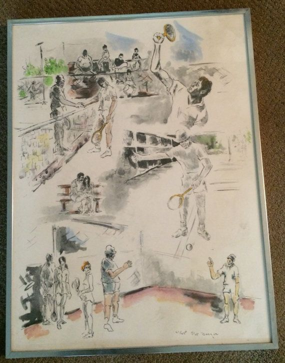 Tennis Limited Edition Serigraph By Pat Berger Signed And Numbered