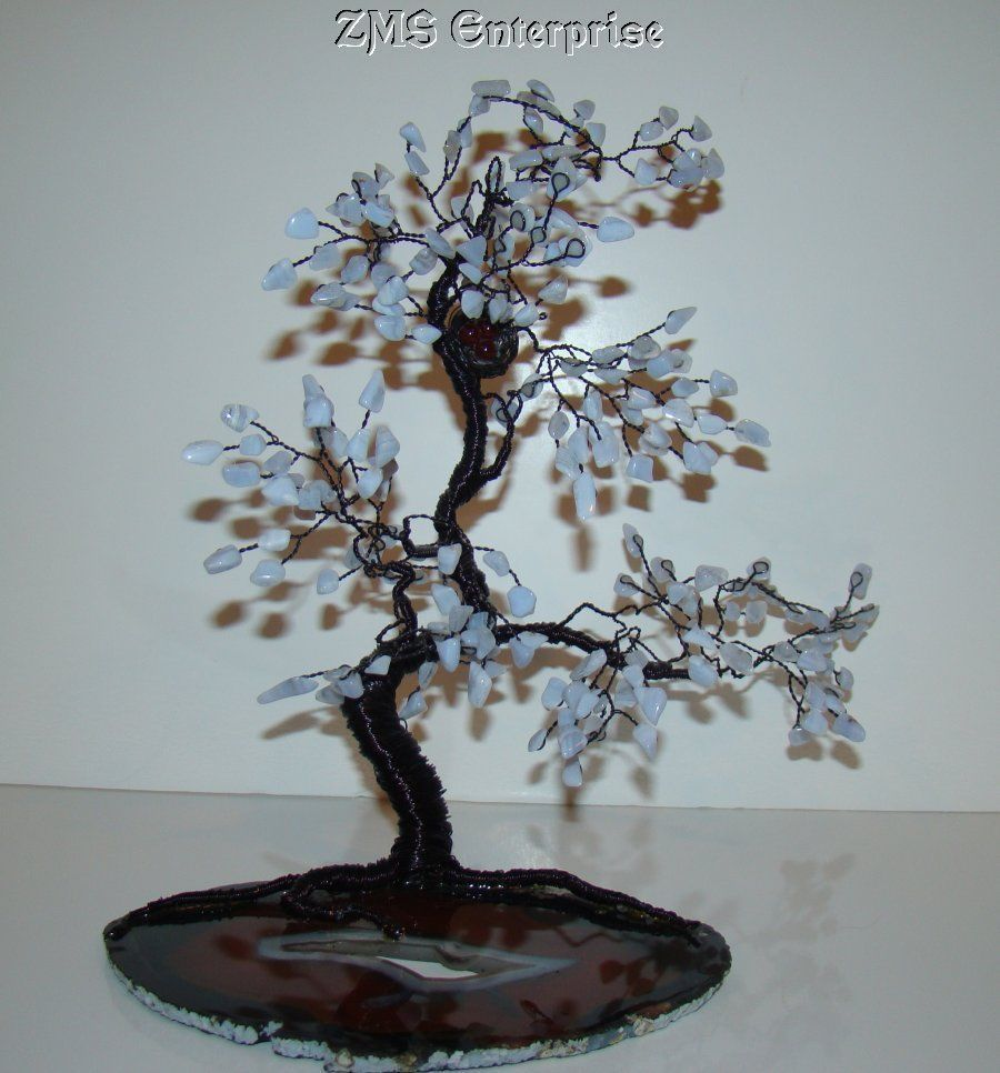Large Gem Wrapped Wire Tree Sculpture on AGATE Base Rare with Nest ...