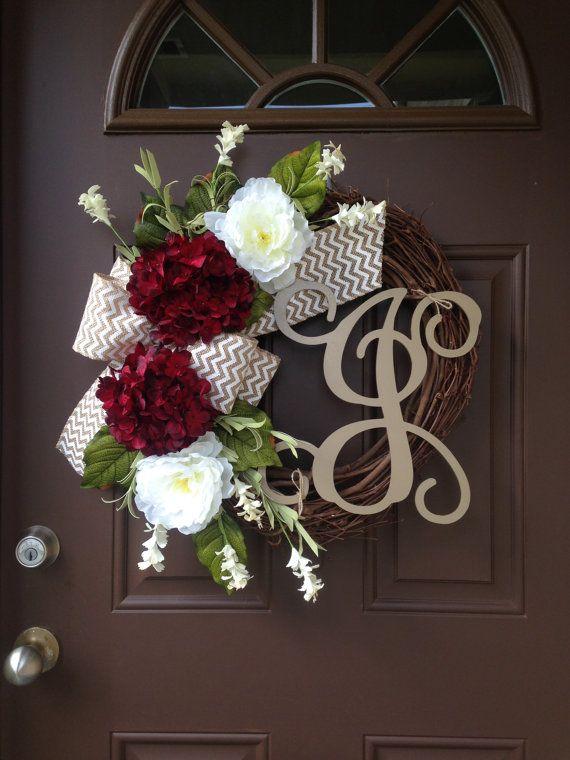 Wonderful Year Round Wreath For Front Door  Personalized Hydrangea Wreath With  Burlap  Monogram Grapevine Wreath   Outdoor Wreath   Year Round Wreath