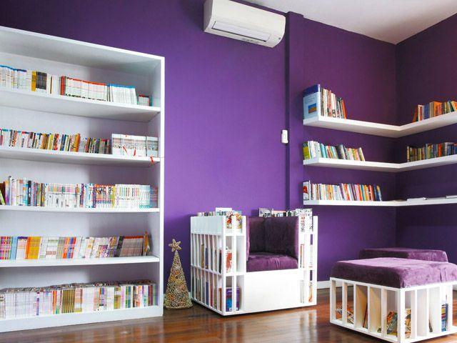 purple and white beautiful and comfy bookshelf bookstore library movie and cafe jalan cinere raya blok m jakarta tel 7533 786 buka wib - Purple Cafe Ideas
