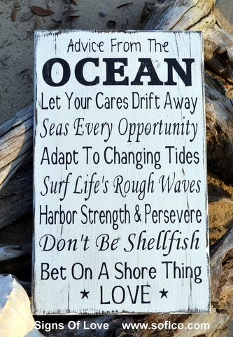 advice from the ocean love sign beach wedding decor hand painted rustic wood wall art