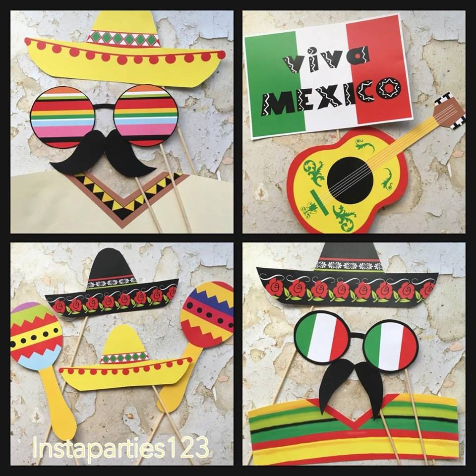 Popular DIGITAL Mexico Theme Party Fiesta Photo Booth Props Cinco De Mayo  OO98