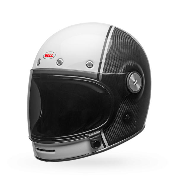 BELL Bullitt Pierce Black White Lightweight Carbon Motorcycle Helmet With Retro Design