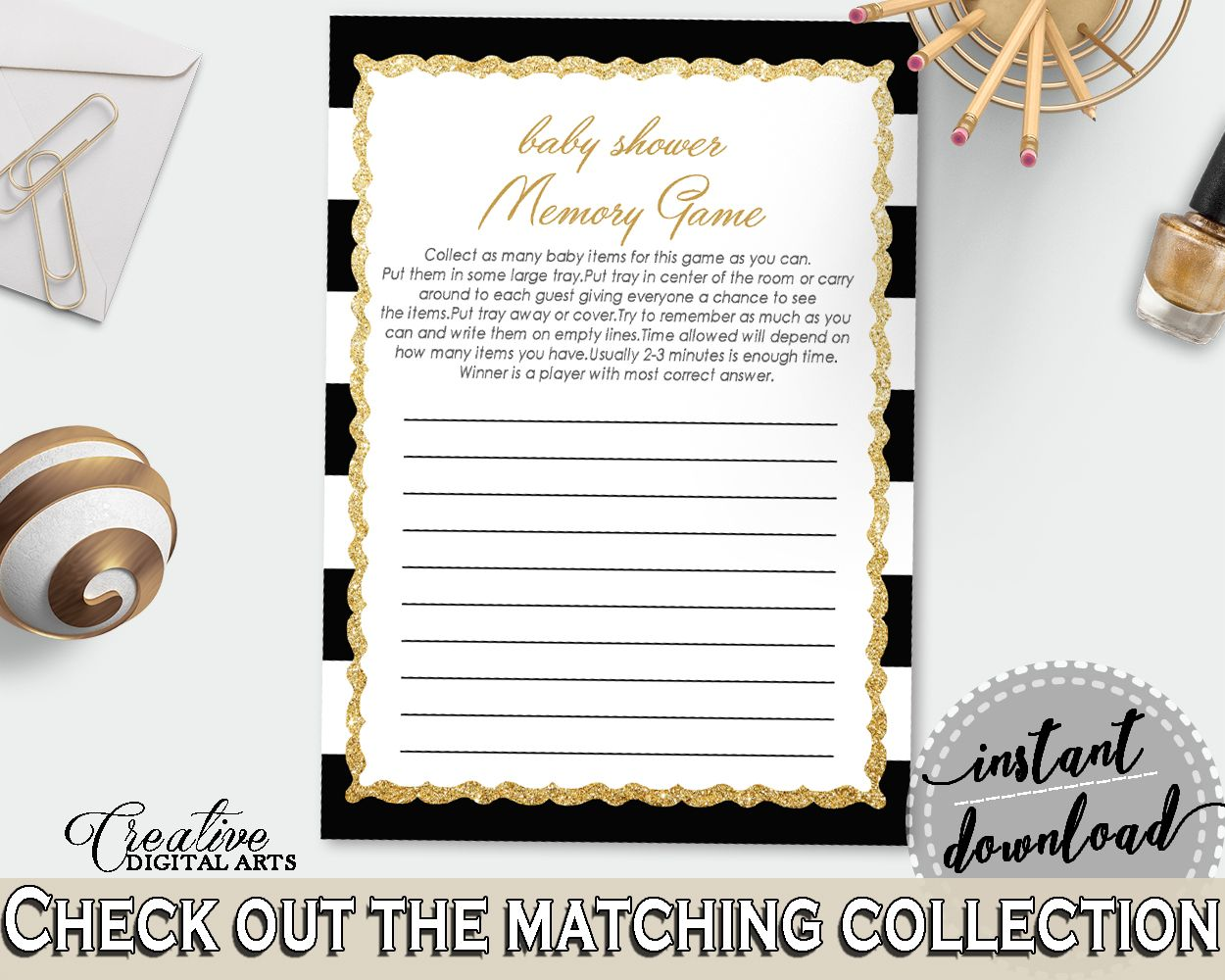 Stripes Baby Shower Memory Game, Black Gold Memory