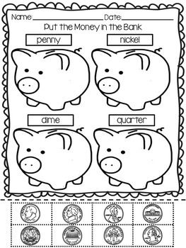students practice identifying quarters nickels dimes and pennies in this cut and paste. Black Bedroom Furniture Sets. Home Design Ideas