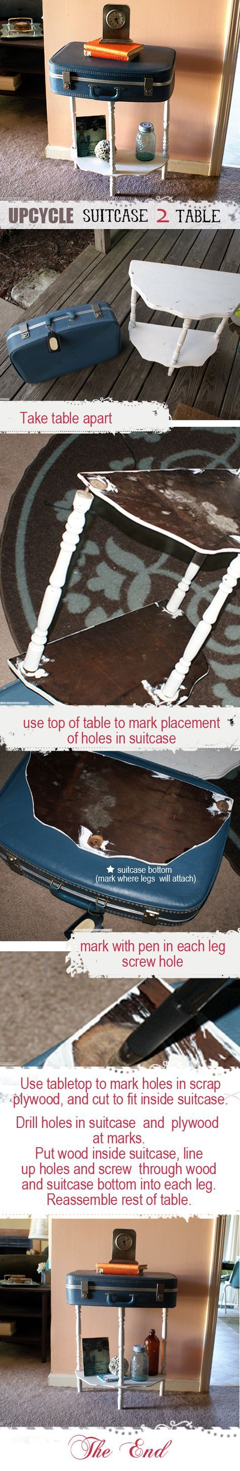 Easy and quick tutorial for turning old suitcase into table at savedbylovecreations.com #upcycle #DIY #crafts #repurpose