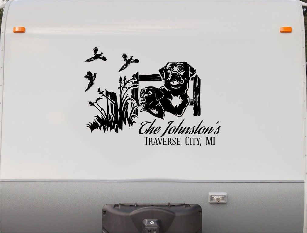 Labrador Retreiver Mountains RV Camper Th Wheel Motorhome Vinyl - Custom rv vinyl decals