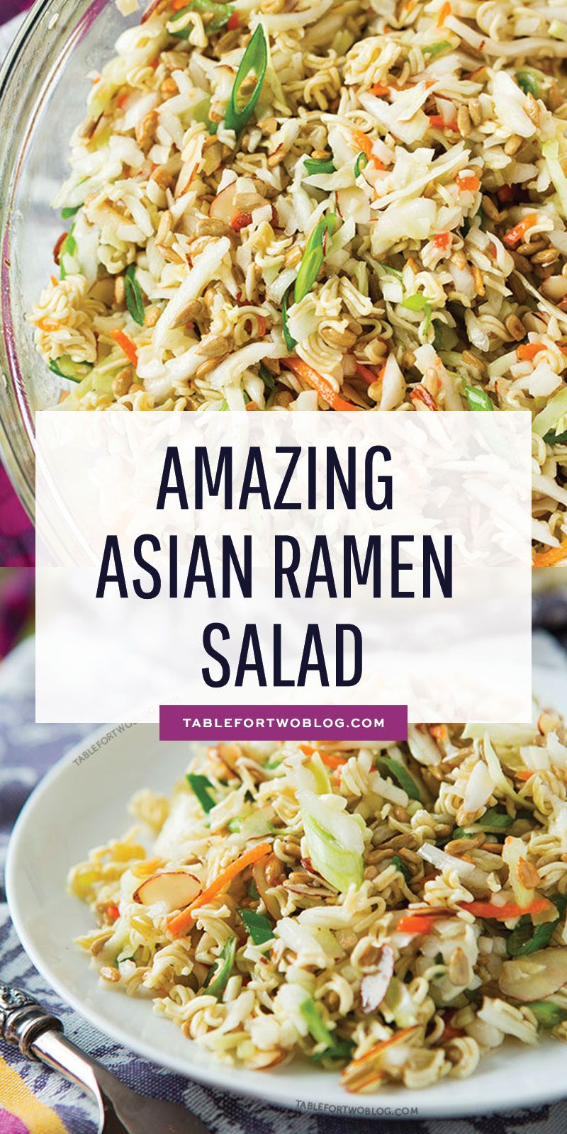 This ridiculously amazing Asian ramen salad will have you and your guests going back for thirds and fourths. Everyone will be asking for the recipe and you'll want to bring this easy dish to every potluck! #ramensalad #asianramensalad #easypotluckrecipes
