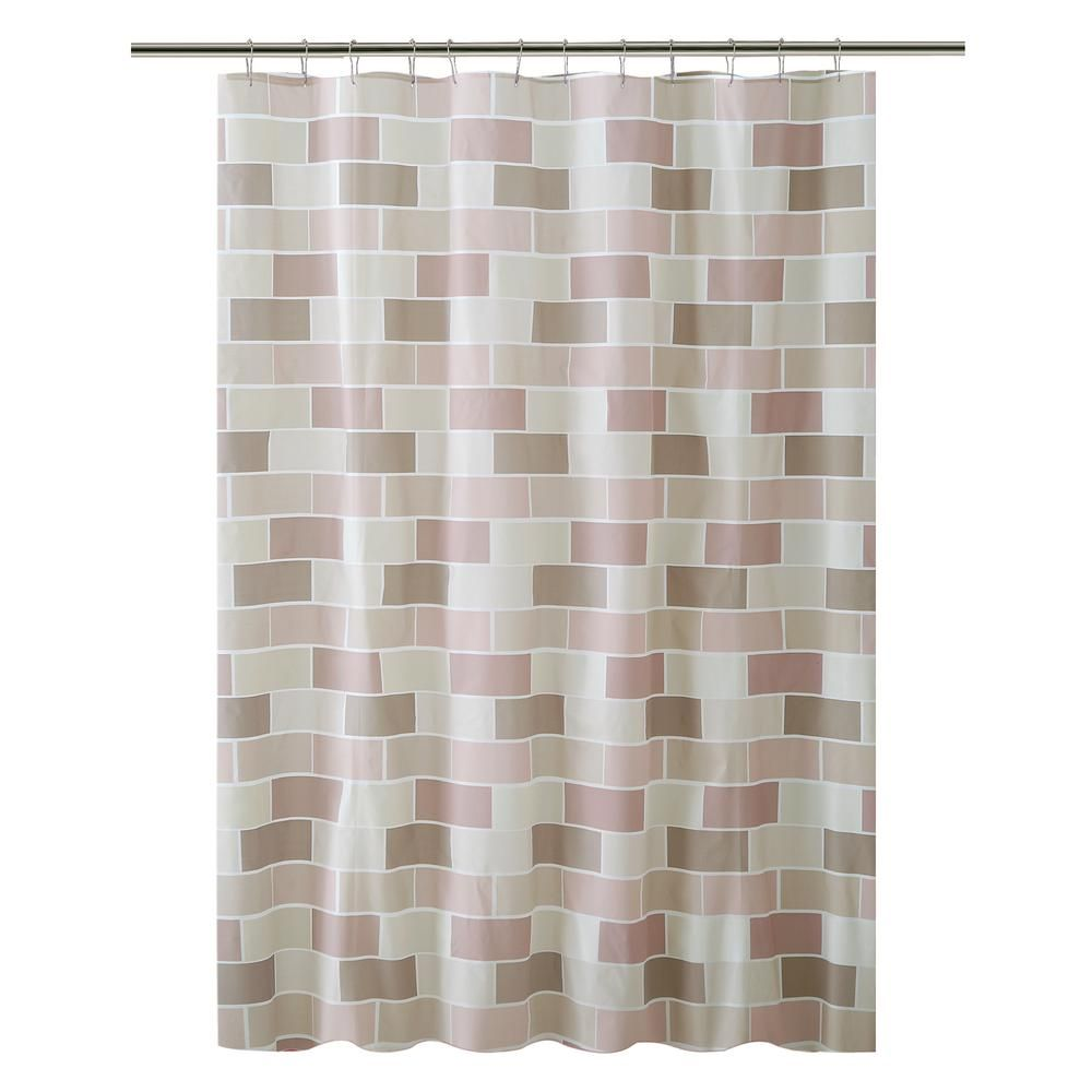 Bath Bliss Peva 70 In X 72 In Beige Tile Design Shower Curtain Tan Shower Curtain Sets Tile Design Flower Shower Curtain