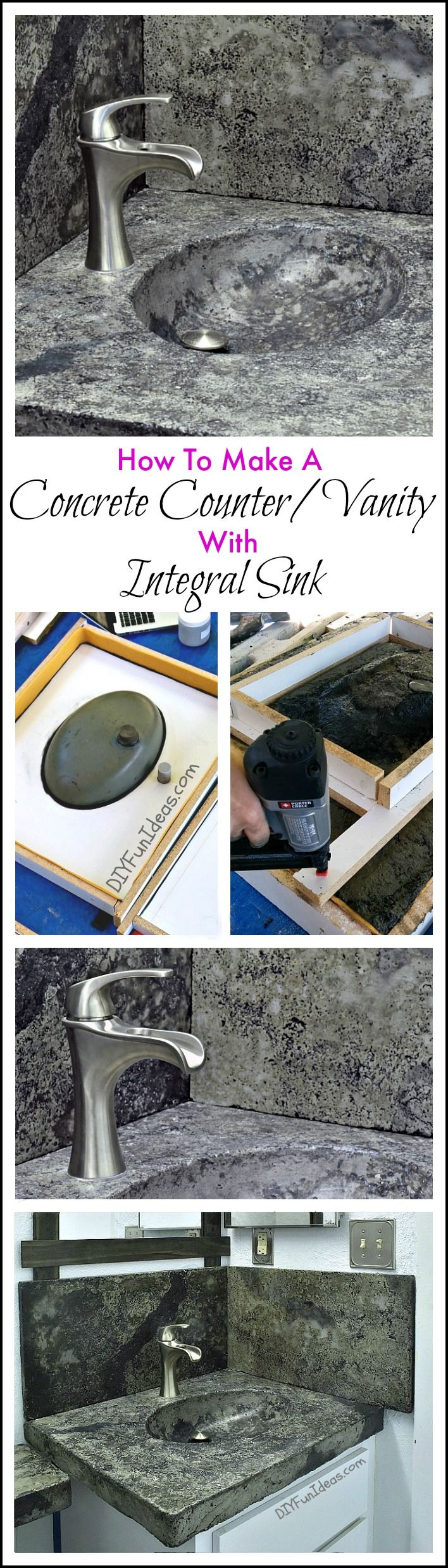 HOW TO MAKE A CONCRETE COUNTERTOP OR VANITY WITH INTEGRAL ...