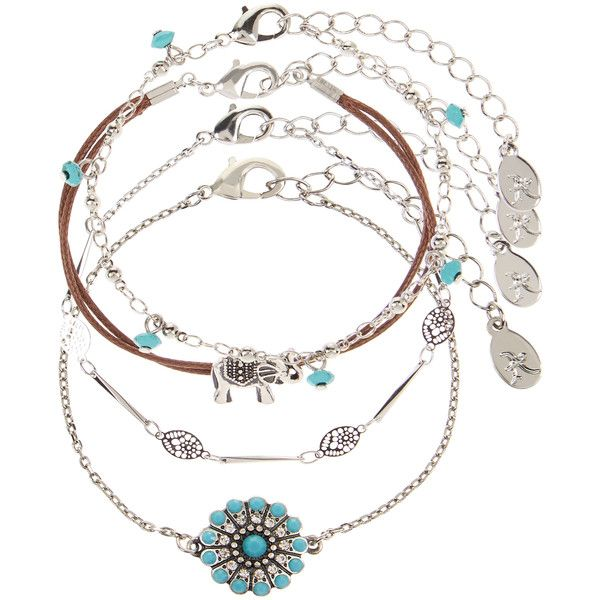 Accessorize 4 X Coachella Friendship Bracelet Pack (16 CHF) ❤ liked on Polyvore featuring jewelry, bracelets, charm bangles, friendship charm bracelet, elephant bangle, elephant jewelry and friendship bracelet