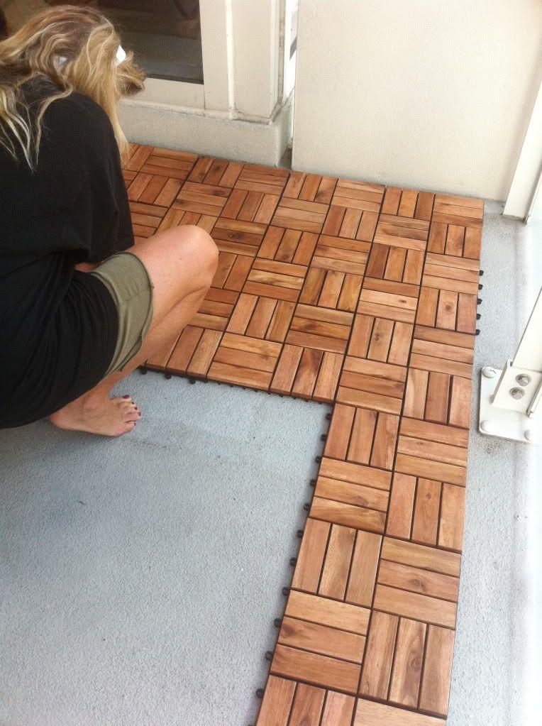 Ikea...interlocking wood tiles. - Ikea...interlocking Wood Tiles. Small Balcony Ideas