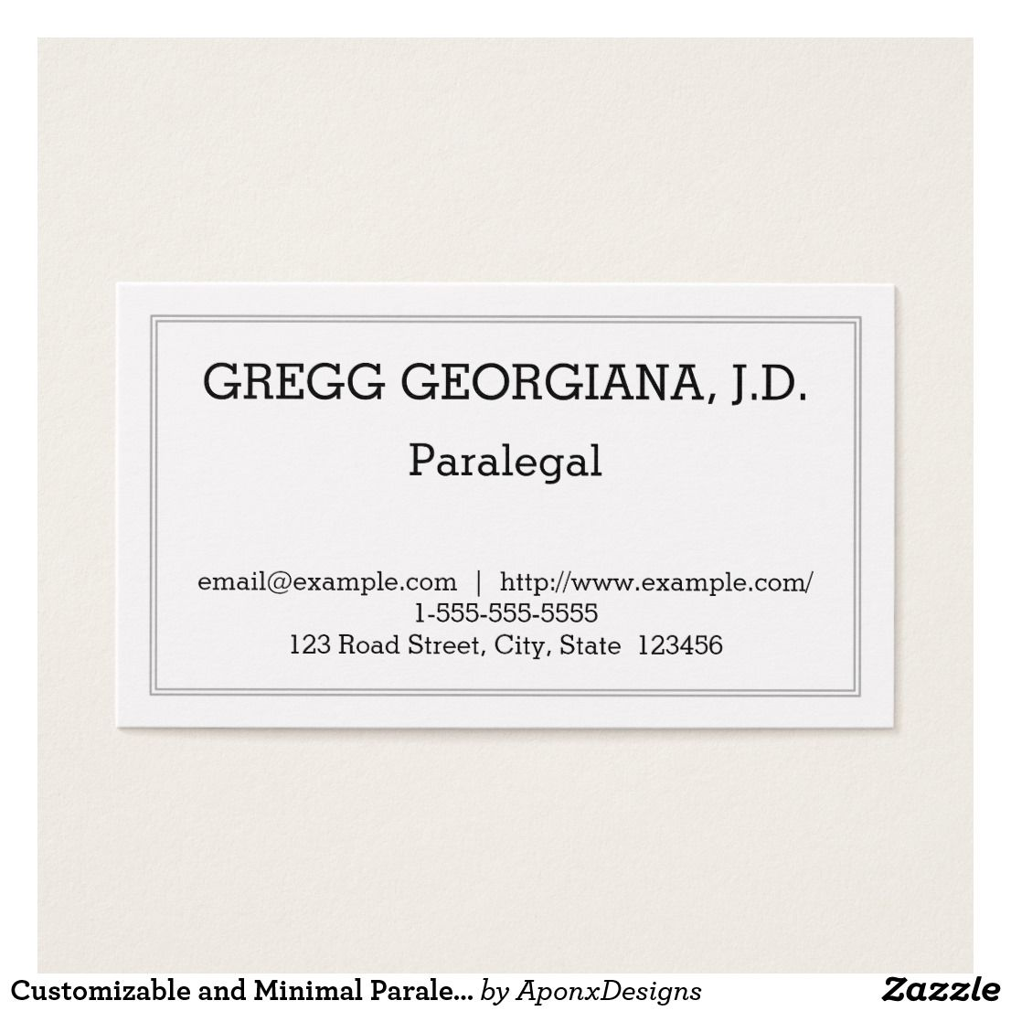 Customizable and minimal paralegal business card customizable customizable and minimal paralegal business card colourmoves
