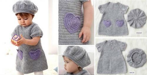 gratis mönster stickad klänning baby
