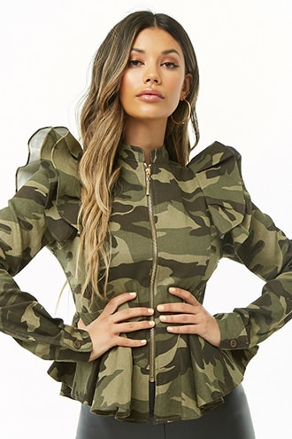 e79d3936a3e1 Camo Ruffle-Trim Jacket in 2019 | Products | Camouflage pants ...