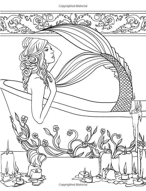 Mermaid In Bath Tub Mermaid Coloring Pages Mermaid Coloring