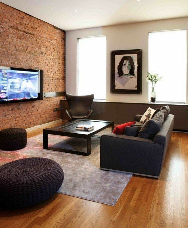 Small living room ideas brick wall wood flooring modern sofa low coffee  table