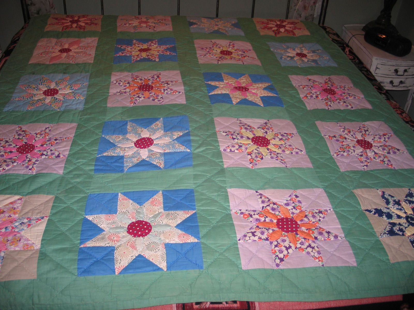 Antique 1930 40s Star Flower Feed Sack Quilt Hand Stitched Quilted Appliqued | eBay