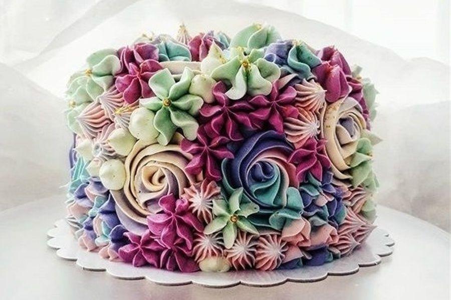 Flower #garden cake. in 2020 | Beautiful cake designs ...