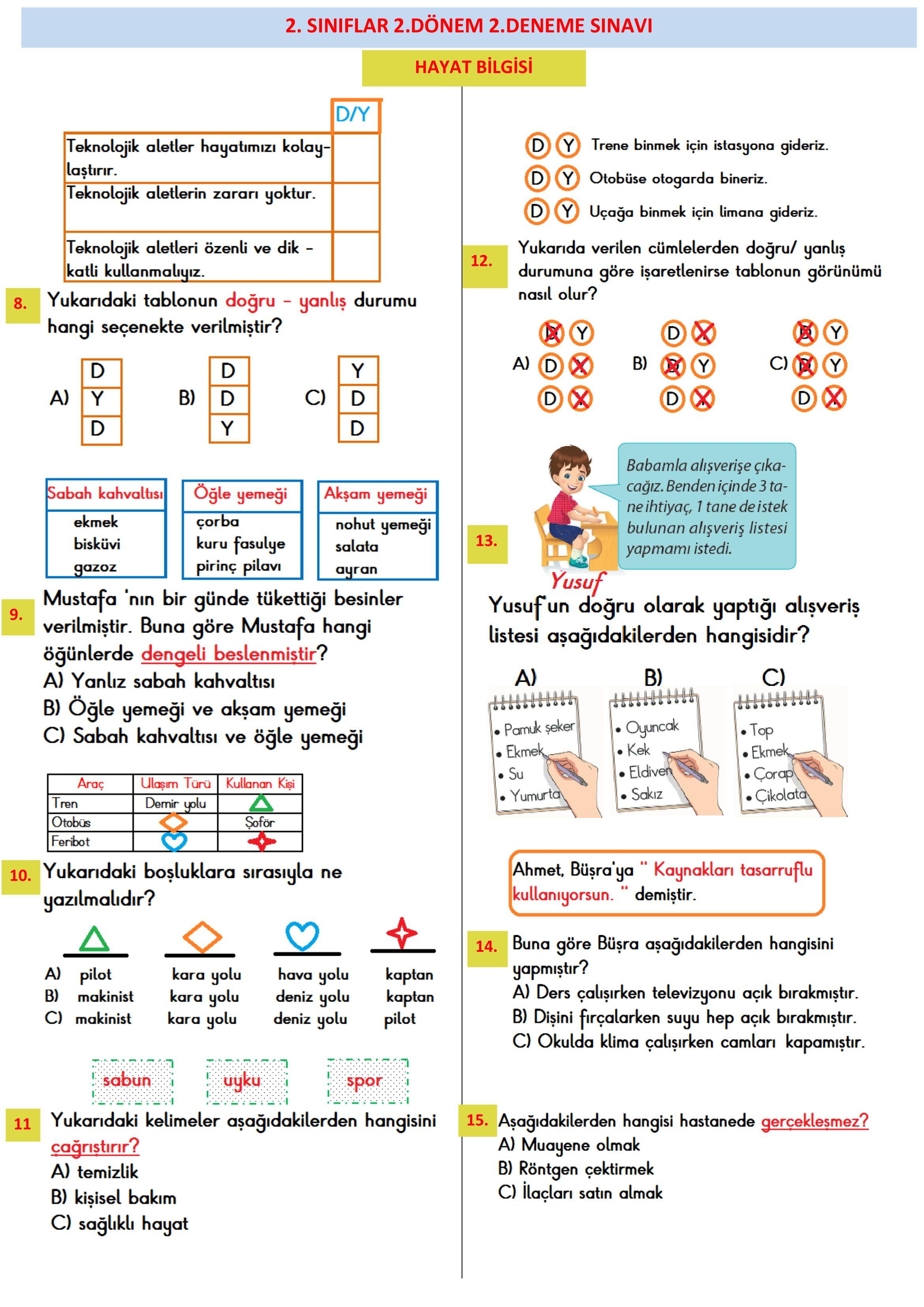 2 Sinif 2 Donem Deneme Sinavi Sinif Hayat Bilgisi Temel Matematik