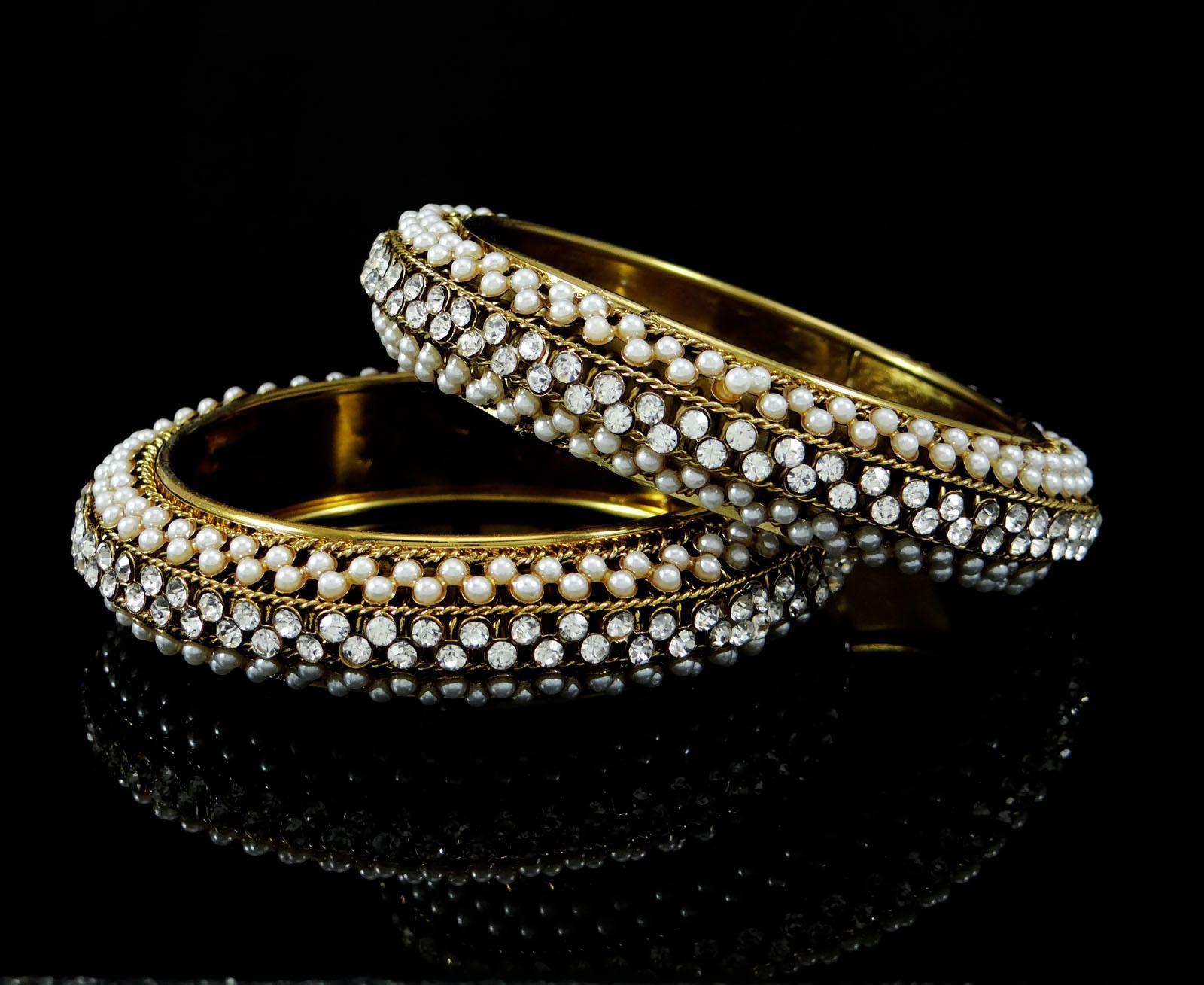 Goldtone indian ethnic cz pc kada bangle bracelets women bridal