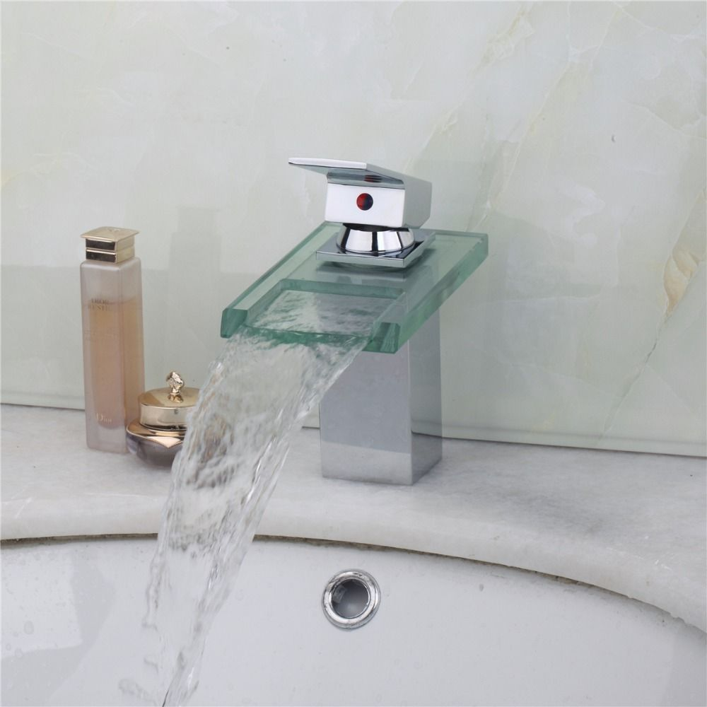 Deck Mounted Glass Waterfall Bathroom Faucet Square Vanity Sink Mixer Tap Hot Cold Water Tap Faucet S Bathroom Faucets Glass Bathroom Sink Bathroom Mixer Taps