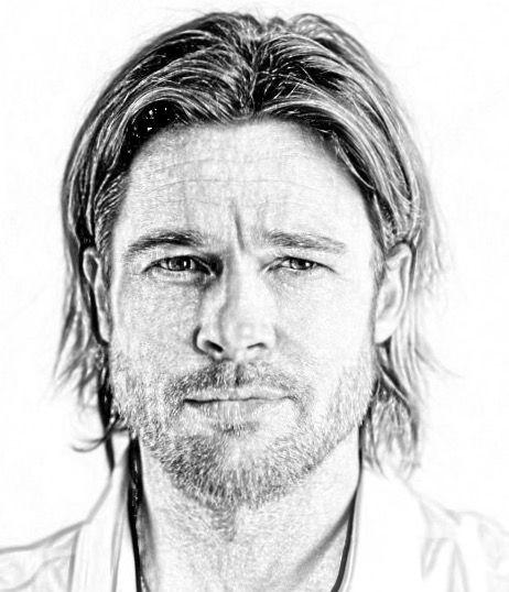 Brad Pitt Portrait Pencil Drawings Pencil Portrait