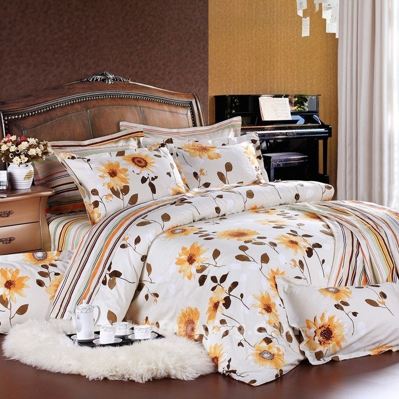 White And Yellow Sunflower Bedding Sets Enjoybedding Com Bedding Sets White Bedroom Set Home