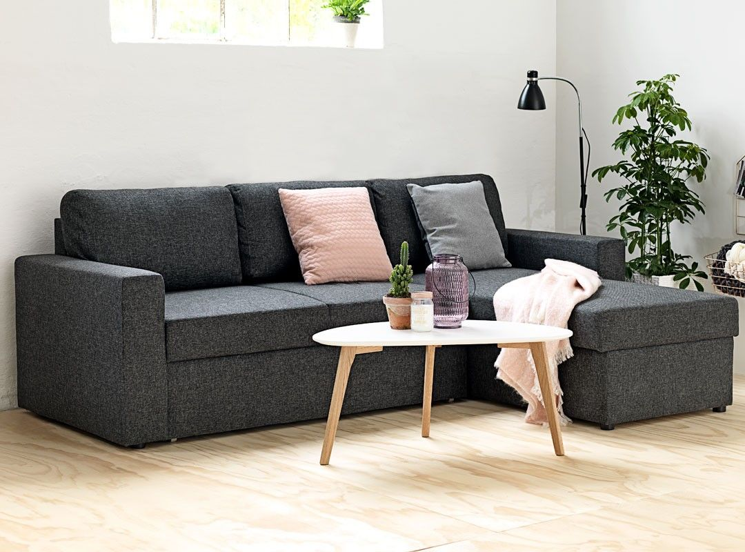 Jysk Mariager Havdrup Sofa Bed Dark Grey Reversible Sofa Bed Offers Pull Out Bed And Storage Compartment In The Cha Grey House Furniture Sofa Bed Furniture